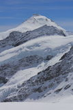 Snow covered peak. Snow covered Mountains in Switzerland during winter Royalty Free Stock Images