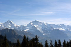 Snow-covered peaks of the Alps in Switzerland. Jungfrau. Schynige Platte Stock Photography