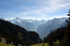 Snow-covered peaks of the Alps in Switzerland. Jungfrau. Schynige Platte Royalty Free Stock Images