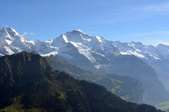 Snow-covered peaks of the Alps in Switzerland. Jungfrau. Schynige Platte Royalty Free Stock Photos