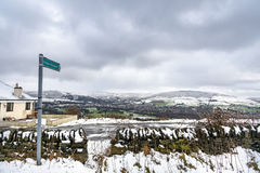 Snow covered peaks countryside UK Royalty Free Stock Photos