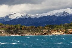 Snow covered peaks of the Serra de Tramuntana Royalty Free Stock Images