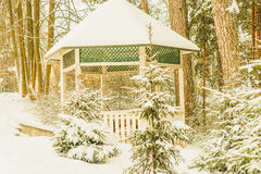 Snow-covered pergola in the beautiful winter forest. Horizontal photo, photo took in Russian, photo is usable on picture post card, calendar, gardening Stock Image