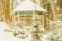 Snow-covered pergola in het mooie de winterbos Stock Afbeelding