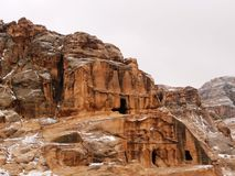 Snow covered Petra. Tomb in snow covered Petra Stock Photography