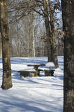 Snow covered picnic table Stock Image