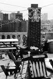 Snow Covered Garden Furniture Rooftop Manhattan New-York Stock Photos
