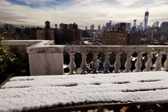 Snow Covered Picnic Table & New-York Skyline Stock Photos