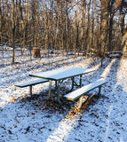 Snow covered picnic table in woods Royalty Free Stock Images