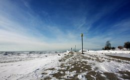 Snow-covered pier Royalty Free Stock Photos