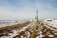 A snow-covered pier Stock Image