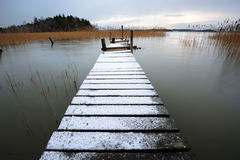 Snow-covered pier Royalty Free Stock Photography