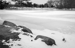 Snow Covered Pond Royalty Free Stock Photos