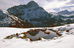 Snow-covered pond in the mountains Stock Photos