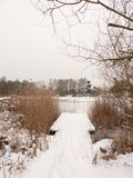 Snow covered pontoon near lake with reeds frozen winter day Royalty Free Stock Photos