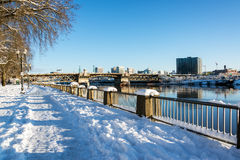 Snow Covered Portland Waterfront Stock Photo