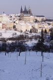 Snow-covered Prag-Schloss Stockbild