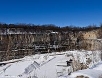 Snow Covered  Quarry Stock Images