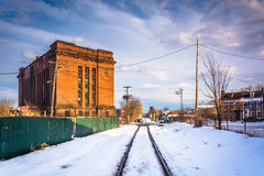 Snow covered railroad track in York, Pennsylvania. Stock Image