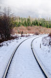 Snow covered railroad tracks Royalty Free Stock Photography