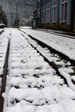 Snow covered railroad in winter Stock Photo