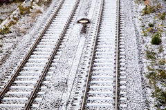 Snow covered rails Royalty Free Stock Images