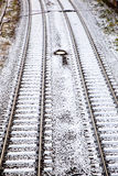 Snow covered rails in the city Royalty Free Stock Photo