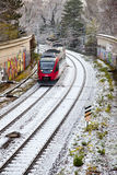Snow covered rails in the city Royalty Free Stock Images