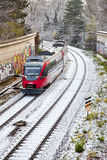 Snow covered rails in the city Royalty Free Stock Photography