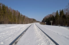 Snow-covered railway line Royalty Free Stock Photography