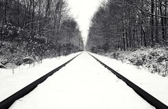 Snow covered railway track Stock Photography