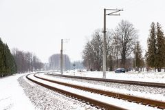 A Snow Covered Railway Track in Sigulda. The view along a snow covered railway track in Sigulda, Latvia Royalty Free Stock Images