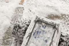 Snow covered RC truck Stock Photography