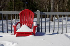 A snow covered red chair on a wooden deck. A snow covered red Adirondack chair sitting on a deck with a forest in the background Stock Image