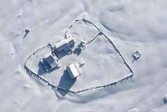 Snow Covered Remote Farm. Aerial View Stock Photography