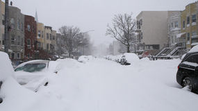 Snow covered residential street Royalty Free Stock Images