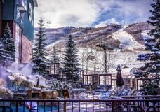 Snow covered resort Royalty Free Stock Images