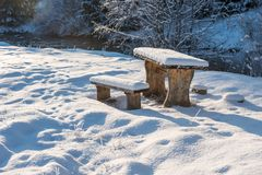 Free Snow Covered Resting Place With Table And Benches Royalty Free Stock Photography - 128810927