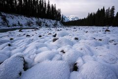 Snow covered riverbed along the Icefileds parkway Royalty Free Stock Photography