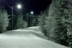 Snow-covered road. Night foto, snow-covered road Stock Photography