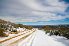 Snow covered road  Stock Photos