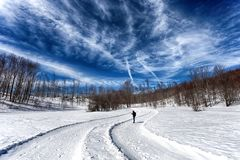 Snow-covered road in forest between mountains, Italy stock image