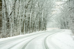 Snow Covered Road Stock Images