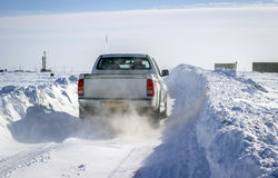 Snow covered roads Royalty Free Stock Images