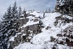 Snow covered rock with trees around and blue sky with clouds. On Medvedi vrch hill in winter Jeseniky mountains in Czech republic stock photography