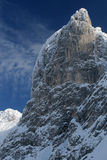 Snow-covered rock wall Stock Image