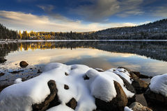 Snow covered rocks, Donner Lake, California Royalty Free Stock Images