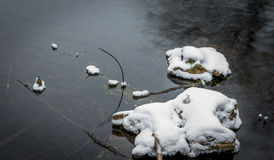 Snow covered rocks in a park pond in Wisconsin. Snow covered rocks in a park pond in winter in Wisconsin Royalty Free Stock Photo