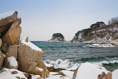 Snow-covered rocks at the sea Royalty Free Stock Image