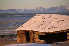Snow covered Rocky Mountains. In Alberta winter Canada log cabin abandoned Stock Image